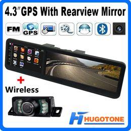 Wholesale Wireless Car Rear Mirror - 4.3 inch Car Bluetooth GPS Mirror Rear View Camera FM GPS Navigation AV-in bulit-in 4GB 128RAM Map With Wireless Rearview Camera