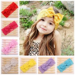 Wholesale Big Bow Head Band - baby lace headbands for girls christmas headband infant hair bows children big bow hair accessories girls lace flower hairbands head bands