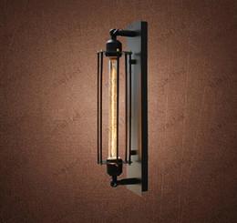 Wholesale Vintage Clear Glass Lamps - nimi504 European Designer Lamp American Retro RH Loft Grand Caged Sconce Alcatraz Iron Wall Light For Hallway Balcony Aisle Bedroom
