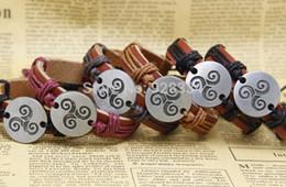 Wholesale Tv China Free Shipping - triskel 100% handmade bracelet genuine wristband fashion charm bracelet popular music men's bracelet Free shipping