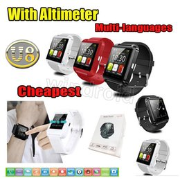 Wholesale Android U Box - Bluetooth Smartwatch U8 U Watch Smart Watch Wrist Watches for iPhone 6 Samsung Note 4 HTC Android Phone Smartphones with retail box 10pcs