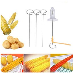 Wholesale Tornado Potatoes Cutter - Tornado Potato Spiral Cutter Slicer Chips Spits Tower Making Twist Shredder French Fry Cutter Kitchen Supplies OOA3755