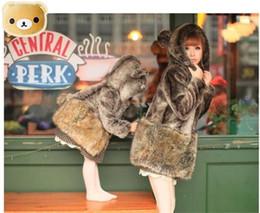 Wholesale Womens Fur Coat Rabbit - Fashion Womens little bear Hooded Ears Tail Topwear Faux rex rabbit fur & Faux fox fur Coat Free shipping Plus Size WT17