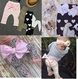 Wholesale Big Leg Pants - antumn high quality soft warm 0-3 years baby girls cotton legging Leopard big bowfly baby pant girls clothing