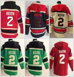 Wholesale Cheap Hooded - Cheap Men's Chicago Blackhawks Cheap Ice Hockey Jersey Hoodie #2 Duncan Keith Ice Hockey Hoodies  Hooded Sweatshirt