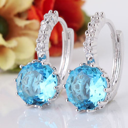 Wholesale Aquamarine Gold Jewelry - 2014 New! Wholesale 18k white gold plated earing lovely hoop earings aquamarine fashion brand jewelry free shipping E005g