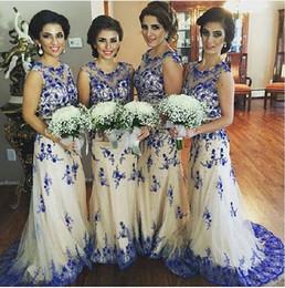 Wholesale Crepe Sheath Dress - Royal Blue Ivory Mermaid Bridesmaid Dresses 2016 Sheer Neck Cap Sleeves Lace Tulle Plus Size Wedding Party Dresses 2016