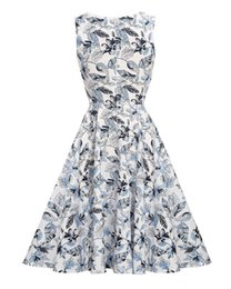 Wholesale high end cocktail dresses - HOT Europe American style high-end Fashion Casual Womens Loose Chiffon Floral Print Party Cocktail Evening dress GL17893 SMLXLXXL