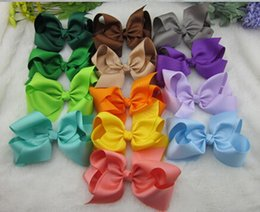 Wholesale Selling Barrettes - 18%OFF 32pcs lot,6 inch big ribbon bows,Girls' hair accessories hair bow withclip, hot selling bows for girl 25colors. free shipping