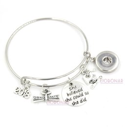 Wholesale Gift Buttons - Wholesale Snap Jewelry 2018 Graduation Bracelet Expandable Wire Bangle Adjustable Snap Button Bracelets for College Graduation Gifts