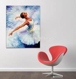 Wholesale Girl Knives - Beautiful Ballet Girl Modern Wonerful Palette Knife Oil Painting Canvas Prints Mural Art For Home Office Cafe Wall Decor