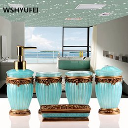 Wholesale European Style Home Decoration - European -Style High -Quality Bathroom Set Natural Resin  1lotion Bottle  1soap Dish  2  1toothbrush Holder Home Decoration