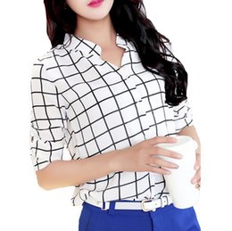 Wholesale Asymmetric Hem Casual Blouse - Fashion Women Chiffon Blouse blusas Contrast Pattern Buttons Asymmetric Hem Stand Collar 3 4 Sleeves Shirt Tops order<$18no track