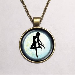 Wholesale Girls Wooden Necklace - free shipping Wholesale Glass Dome pendant Sailor Moon necklace Fashion jewelry Moon girl necklace,Glass dome wooden pendant necklace 310