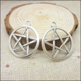Wholesale Tibetan Silver Pentagrams - 75pcs Charms Pentagram Pendant Tibetan silver Zinc Alloy Fit Bracelet Necklace DIY Metal Jewelry Findings