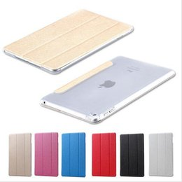 Wholesale Bling Ipad Case Stand - Apple iPad 5 6 mini 1 2 3 4 Air 2 Pro Cases Ultra Slim Luxury Silk Pattern Bling Series PU Leather Smart Case Stand Hard Clear Back Cover