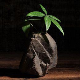 Wholesale Vase Decorations Stones - Imitation stone ceramic flower pots planters home decoration flower vases for green plants Bonsai pots rough rock appearance