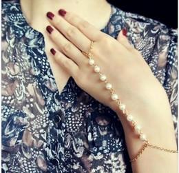 Wholesale Womens Fashion Harness - 2015 New Imitation Pearls Chain Linked Finger Loop Bracelet Fashion Elegant Womens hand Harness Bracelet