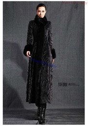 Wholesale Mink Fur Black Coats Women - 2015 new faux Mink Fur coat fur collar maxi trench overcoat autumn ladies gray casacos femininos elegant fuax fur coat