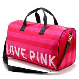 Argentina Las mujeres de la manera amor atractivo Pink bolsos en forma de barril de gran capacidad de viaje Duffle rayas impermeable bolsa de playa bolsa de hombro Suministro