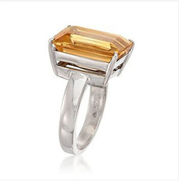 Wholesale Natural Citrine Rings - Free Shipping Solid 14K White Gold Natural Ravishing Emerald Cut Citrine Engagement Ring(R0118)