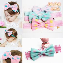 Wholesale Famous Princesses - 2015 New Arrival Round Dot Baby Girls Big Bowknot Design Hair Headbands Famous Brand Princess Girls Headbands Purple Bow Hairbands