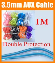 Wholesale Audio Used - Normal 3.5mm AUX audio cable 1m flat Crystal transparent Car Audio use Extention Auxiliary Cord for headphone speaker ipad cellphone CAB037