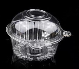 Wholesale Muffin Cake Holder Dome - 100pcs lot Individual Clear Plastic Cupcake Boxes Single Muffin Cake Container Case Pods Domes Holder free shipping