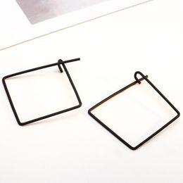 Wholesale Ear Loops Wholesale - Wholesale- Gold Silver Black Square Hoop Earrings Simple Loop Earring Women Ear Jewelry Pendientes Statement Charm Fashion Accessories