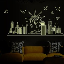 Wholesale Giant Wall Mural Stickers - Glow In the Dark Statue of Liberty Wall Stickers Decal Luminous New York City Silhouette Wall Art Murals Decor Fluorescent NYC Giant Art