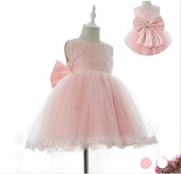 Wholesale Knee Hight Dresses - soft tulle tutu Baby dress First Communion baptism baby girl clothes kids Toddler Princess dresses for flower girls 0-8 year hight quality f