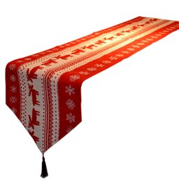 Wholesale Table Runners Europe - Wholesale- QuickDone Home Decoration Elk Red Christmas Dining Table Runner New Year Gift Xmas Tassels Home Textile MR0109