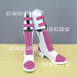Wholesale Final Fantasy Pink - Wholesale-Final Fantasy XIII-2 Sierra Cosplay Shoes Pink High Boots Custom-made