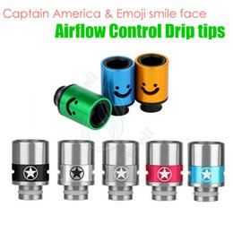 Wholesale America Tips - Top 510 Airflow Control Drip Tips Captain America & Emoji smile face huge vaporizer wide bore Mouthpiece tip ecigs atomizer RDA tank dripper