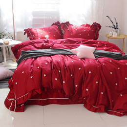 Wholesale Hand Embroidery Bedding Set - Embroidery Bedding Set For Wedding Room Heart Printing Bedding Set Duvet Cover Bed Sheet Printed Bedding Sets With Bow Queen King Size