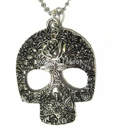 Wholesale Skull Rose Pendants - Brand Vintage Silver Big Sugar Skull Rose Flower Necklaces Charms Choker Ball Chain Necklace Pendants Fashion Jewelry For Woman 10pcs Q642