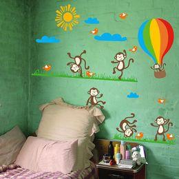 Wholesale Hot Air Balloon Wall Art - 140x80cm Cheeky Monkey Hot-air Balloon Wall Art Stickers Decal for Nursery Home Decor Children Courtyard Baby Room Wall Sticker