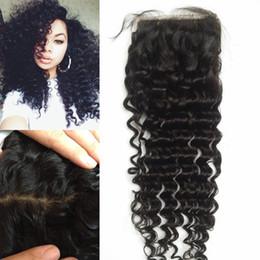 Pelo suave indio online-El mejor pelo humano virginal de la Virgen del pelo de seda a base de cierre profundo rizado Beyonce curl parte frontal superior G-EASY