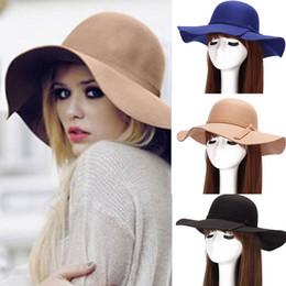 Wholesale Feel Golf - New Fashion Women Lady Sun Protection Hat Wide Brim Wool Felt Bowler Fedora Hat Floppy Cloche Sun Beach Bowknot Cap Fall Hat