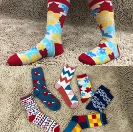Wholesale Maple Patterns - Newest Autumn Winter Men Happy Socks Wave Maple Leaves Stripes Geometric Patterns British Style Men's Socks Fashion Brands Cotton Stockings