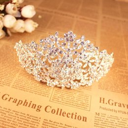Wholesale Tiara Bride Crown - BlingBling Sparkly Crystals Wedding Bridal Crown Veil Tiaras 2016 High Quality In Stock Hair Accessories For Brides Jewelry CPA494