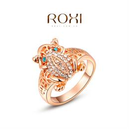 ROXI Rose de Noël cadeau Plaqué Or mignon Frog anneau Déclaration Bagues bijoux à la mode pour les femmes de soirée de mariage Livraison gratuite ? partir de fabricateur
