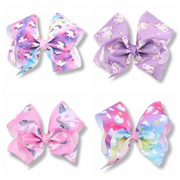 Wholesale Big Tiaras - 10pcs Girls Jojo Unicorn 8 inch hair Bows Alligator Clips big Paint Love ombre rainbow bowknot hairpins headwear bobbles Accessories HD3514