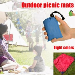 Wholesale Waterproof Outdoor Mattress - 8pcs lot 210T Nylon New Outdoor Camping Nylon Pocket Picnic Mat Waterproof Folding Pendant Beach Mat 140cm * 152cm