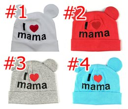 Wholesale I Love Mama Colors - 4 colors baby girl hat lovely I LOVE MAMA print with ears warm INS Baby Hat Turban Knot Head Wraps Hats Kid Winter Beanie adjustable cap B95