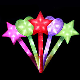 Wholesale Christmas Glowing Star - Color Star Heart LED Light Stick Shiny Cheering Glow Flash Light Stick Christmas Gift Party Decor SD487
