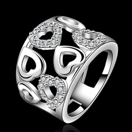 Wholesale Silver Ladies Ring Bands - 925 Sterling Silver women Love ring gorgeous design fashion chain lady beautiful party engagement zricon Ring jewelry factory price R633