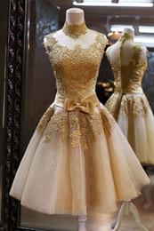 Wholesale Evening Vestido - 2016 hot Golden Appliques Lace Tulle Cheap Short prom Dresses High Neck Fashion Beach vestido de novia A Line evening Dress Under 100