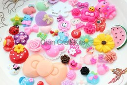 Wholesale Assorted Flat Back Resins - 250pcs Mixed Cabochons Sweet Decoden Kit mix kawaii Cabochon flat back Embellishments resin Assorted DIY Flatback pick color