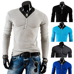 Wholesale Wholesale Black Long Sleeve Shirt - New Fall Fashion Men Long-sleeved Casual T-shirt Slim fit Solid Color V-Neck men's Autumn Tops Basic Tees M147